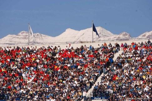 fans. BYU vs. Utah college football Saturday in Provo. Utah wins in overtime; 11.19.2005