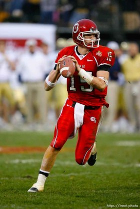 Utah quarterback Brett Ratliff. University of Utah vs. Georgia Tech, Emerald Bowl, San Francisco.