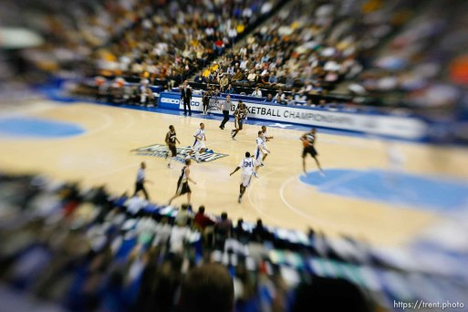 Air Force vs. Wyoming (WYO wins) men's college basketball, Mountain West Conference Tournament in Denver. lensbaby