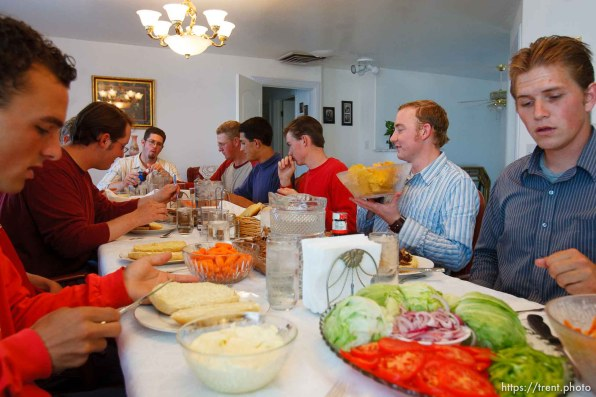 Colorado City - Families in the community take turns feeding about a dozen young men from the fundamentalist community of Centennial Park, Arizona, who serve work missions after they graduate high school. They work construction or other jobs, help the needy, and do volunteer work.. ; 7.25.2006