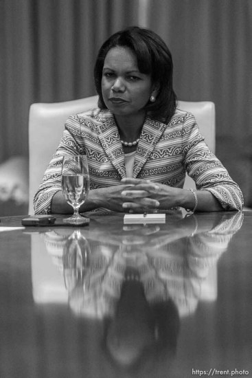 Secretary of State Condoleezza Rice speaks during an interview at Salt Lake City's Grand America Hotel Tuesday morning.; 8.29.2006