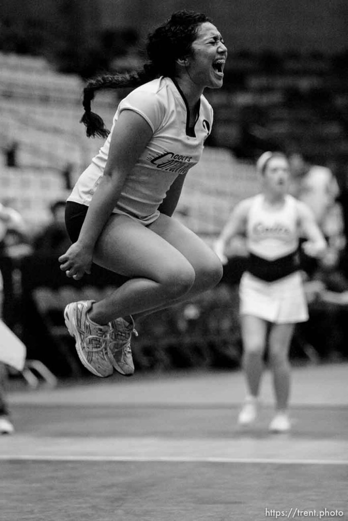 Orem - Cottonwood's Trustine Mendoza leaps for joy as Cottonwood defeats Murray for the 4A state championship, girls high school volleyball at UVSC.
