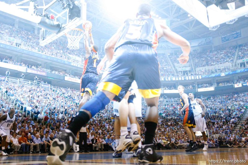 Salt Lake City - Utah Jazz vs. Golden State Warriors, NBA Playoff basketball, Game 5, at EnergySolutions Arena.