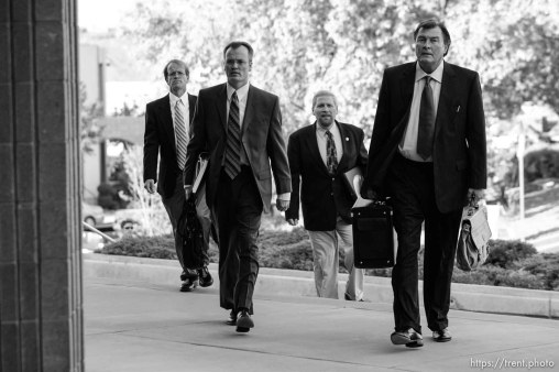 The Warren Jeffs' trial in St. George, Utah. Jeffs, head of the Fundamentalist Church of Jesus Christ of Latter Day Saints, is charged with two counts of rape as an accomplice for allegedly coercing the marriage and rape of a 14-year-old follower to her 19-year-old cousin in 2001. Washington County Attorney Brock Belnap. Utah Assistant Attorney General Craig Barlow, ryan shaum