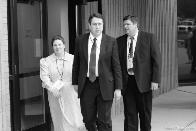 The Warren Jeffs' trial in St. George, Utah. Jeffs, head of the Fundamentalist Church of Jesus Christ of Latter Day Saints, is charged with two counts of rape as an accomplice for allegedly coercing the marriage and rape of a 14-year-old follower to her 19-year-old cousin in 2001.. apparent followers of warren jeffs' flds church