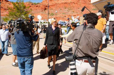 defense attorney Tara Isaacson and media. St. George - Warren Jeffs trial. The polygamous sect leader was charged with two counts of rape as an accomplice stemming from a marriage he officiated involving a 14-year-old girl and her 19-year-old cousin. photographer steve marcus