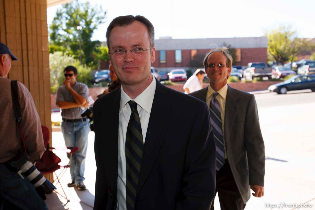 Brock Belnap, Ryan Shaum. Ben Winslow. St. George - Warren Jeffs trial. The polygamous sect leader was charged with two counts of rape as an accomplice stemming from a marriage he officiated involving a 14-year-old girl and her 19-year-old cousin.