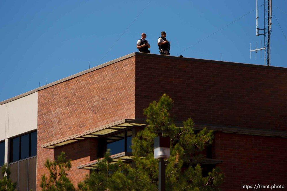 St. George - Warren Jeffs trial. The polygamous sect leader was charged with two counts of rape as an accomplice stemming from a marriage he officiated involving a 14-year-old girl and her 19-year-old cousin. police security
