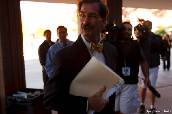 St. George - Warren Jeffs trial. The polygamous sect leader was charged with two counts of rape as an accomplice stemming from a marriage he officiated involving a 14-year-old girl and her 19-year-old cousin. walter bugden, tara isaacson