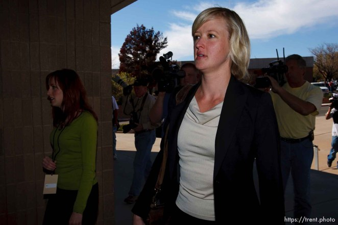 Warren Jeffs attorney Tara Isaacson. St. George - Polygamous sect leader Warren Jeffs was sentenced Tuesday, November 20, 2007 after being found guilty on two counts of rape as an accomplice, in St. George, Utah. Jeffs, head of the Fundamentalist Church of Jesus Christ of Latter Day Saints, was found guilty of two counts of rape as an accomplice for allegedly coercing the marriage and rape of a 14-year-old follower to her 19-year-old cousin in 2001. ; 11.20.2007