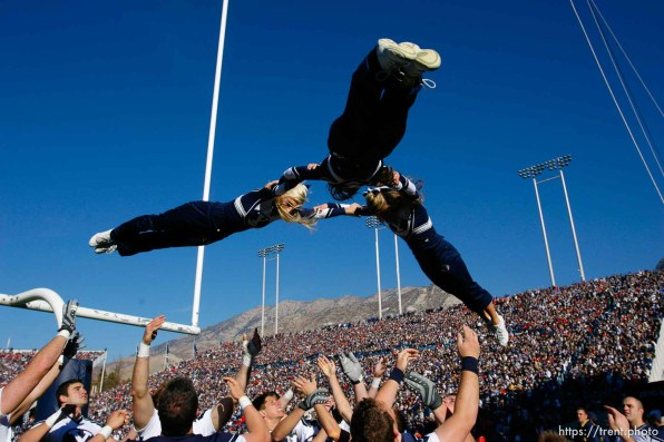 Provo - BYU defeats the University of Utah 17-10 in college football action Saturday at BYU's Lavell Edward Stadium. byu cheer squad.