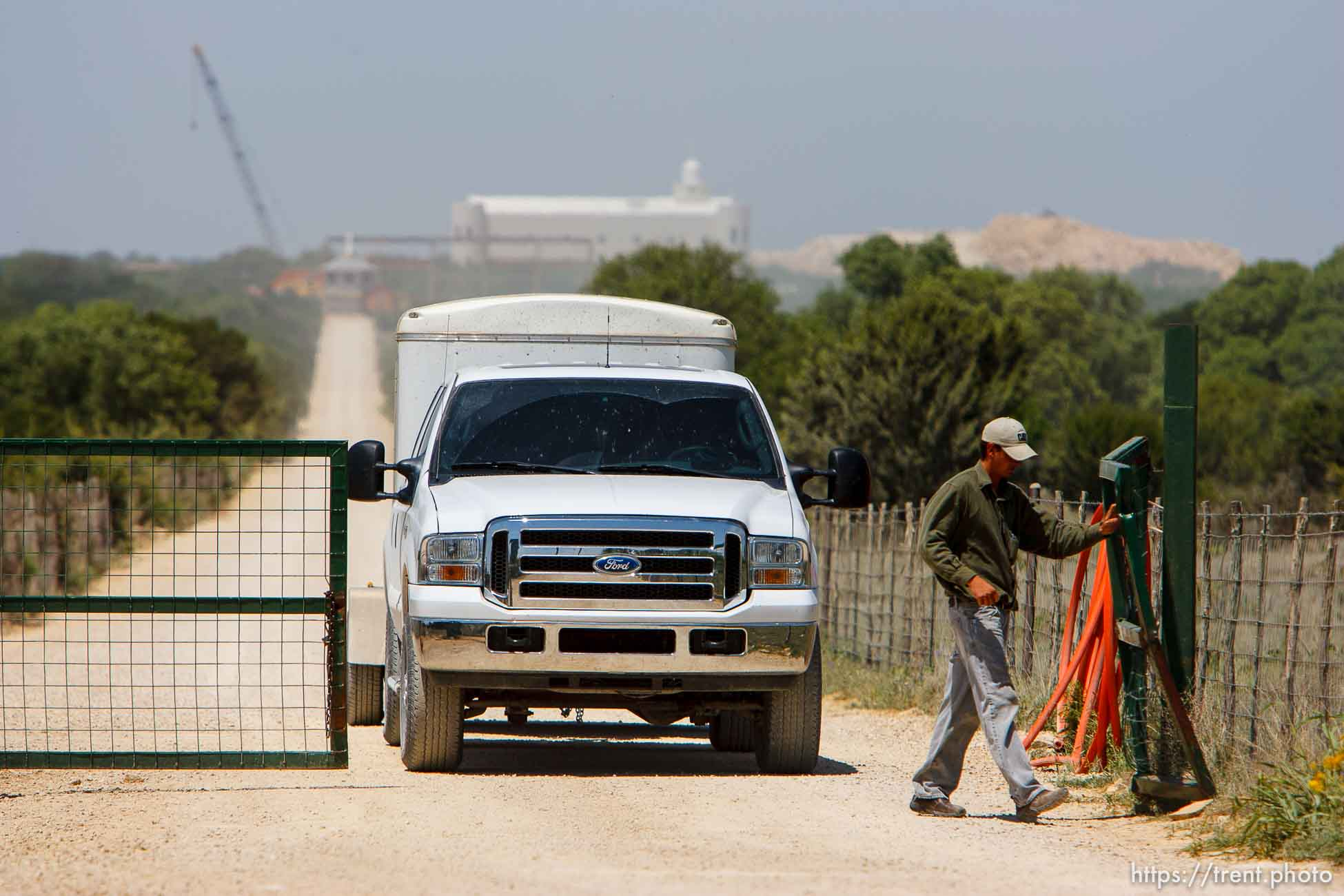 Eldorado - The front gate at the entrance of the FLDS church's YFZ Ranch. Temple. Wednesday April 30, 2008. trucks with trailers leaving the ranch, rumor was people moving out