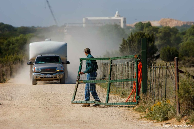 Eldorado - The front gate at the entrance of the FLDS church's YFZ Ranch. Temple. Wednesday April 30, 2008. trucks with trailers leaving the ranch, rumor was people moving out.