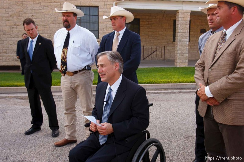 Eldorado - Texas Attorney General Greg Abbott announces the inditement of six individuals associated with the YFZ ranch. A grand jury reconvened at the Schleicher County Courthouse Tuesday, July 22 2008 to consider charges stemming from the raid on the YFZ ranch. Tuesday, July 22, 2008.
