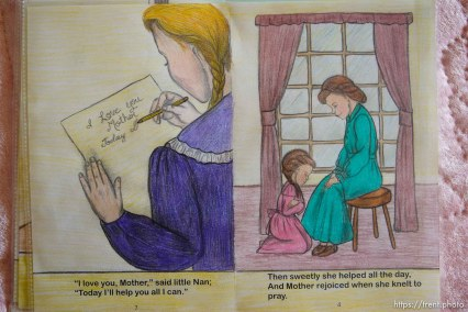 Westcliffe - FLDS reading books, hand colored. Monday, July 28, 2008.