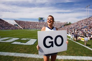 "Provo - BYU vs. Northern Iowa college football Saturday, August 30, 2008 at Edwards Stadium. byu cheerleaders with ""go"" signs"
