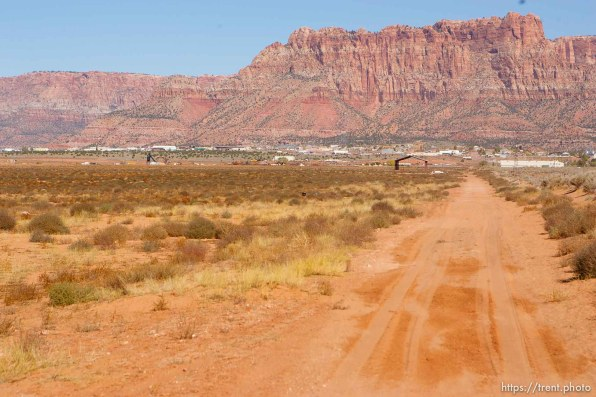 Colorado City - Dirt road and Vermillion Cliffs, Friday October 24, 2008.