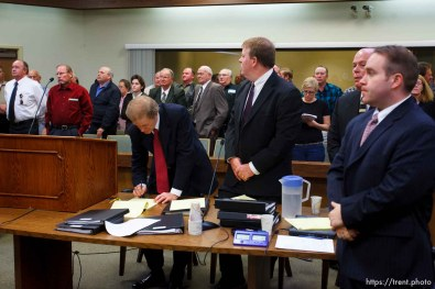 St. George - A hearing at the 5th district courthouse Friday November 14, 2008 on the proposed sale of UEP trust land including Berry Knoll, a site the FLDS say has religious value, was continued after the attorney general's office stepped in and pressured both sides to seek a settlement. jeff shields, zach shields, bruce wisan