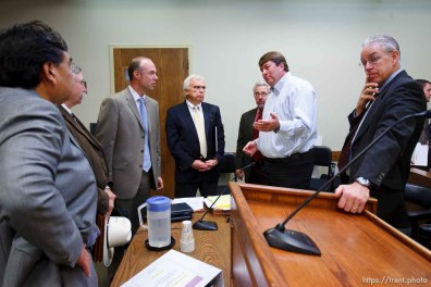 St. George - A hearing at the 5th district courthouse Friday November 14, 2008 on the proposed sale of UEP trust land including Berry Knoll, a site the FLDS say has religious value, was continued after the attorney general's office stepped in and pressured both sides to seek a settlement. tim bodily, willie jessop, jim bradshaw