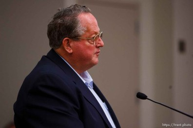 Salt Lake City - Art Blackmore speaks at a hearing held in the Matheson Courthouse Wednesday, July 29, 2009 to decide on the sale of the Berry Knoll property in the United Effort Plan (UEP) land trust. art blackmore