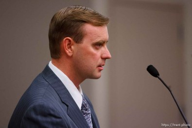Salt Lake City - David Darger speaks at a hearing held in the Matheson Courthouse Wednesday, July 29, 2009 to decide on the sale of the Berry Knoll property in the United Effort Plan (UEP) land trust. david darger