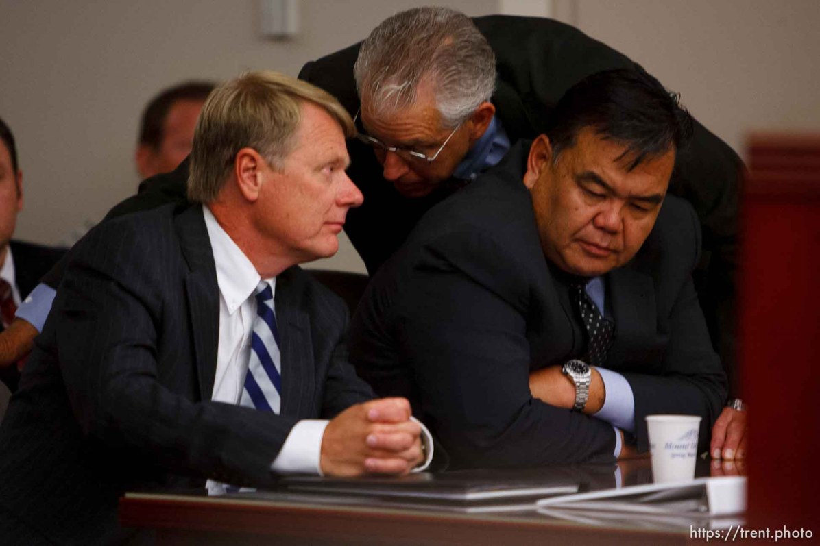 Salt Lake City - A hearing held at the Matheson Courthouse Wednesday, July 29, 2009 to decide on the sale of the Berry Knoll property in the United Effort Plan (UEP) land trust. rod parker, jim bradshaw, ken okazaki