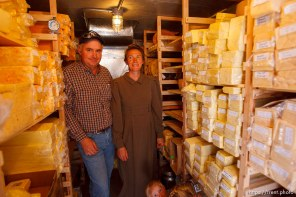 Hildale -, Tuesday August 11, 2009. finney farms. winford barlow and carolena barlow in cheese cold storage