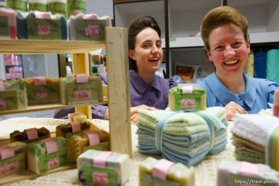 """Hildale -, Wednesday August 12, 2009. Dianna Peine (left) and Roxanne Johnson sell their handmade soaps under the label """"Naturally Young Essentials"""""""