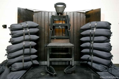 Trent Nelson | The Salt Lake Tribune Draper - The execution chamber at the Utah State Prison where Ronnie Lee Gardner was executed by firing squad Friday, June 18, 2010. Gardner was convicted of aggravated murder, a capital felony, in 1985.