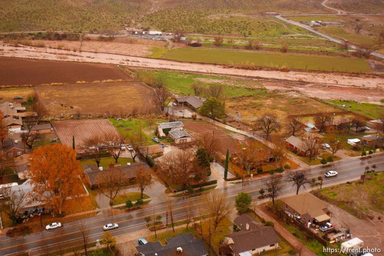 Trent Nelson | The Salt Lake Tribune Aerial views of flooding in St. George, Wednesday, December 22, 2010. Santa Clara River through Santa Clara.
