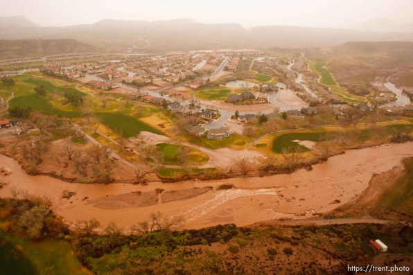 Trent Nelson | The Salt Lake Tribune Aerial views of flooding in St. George, Wednesday, December 22, 2010. Santa Clara River in Santa Clara