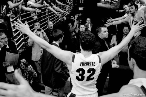 BYU's Jimmer Fredette walks off the court after BYU defeated Gonzaga in the NCAA Tournament, men's college basketball at the Pepsi Center in Denver, Colorado, Saturday, March 19, 2011, earning a trip to the Sweet 16. jaren wilkey