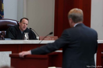 Trent Nelson | The Salt Lake Tribune Utah Supreme Court Justice Thomas Lee questions attorney Rod Parker, as the court heard arguments in Salt Lake City, Utah, Tuesday, April 12, 2011, on cases involving the FLDS Church's United Effort Plan (UEP) land trust.