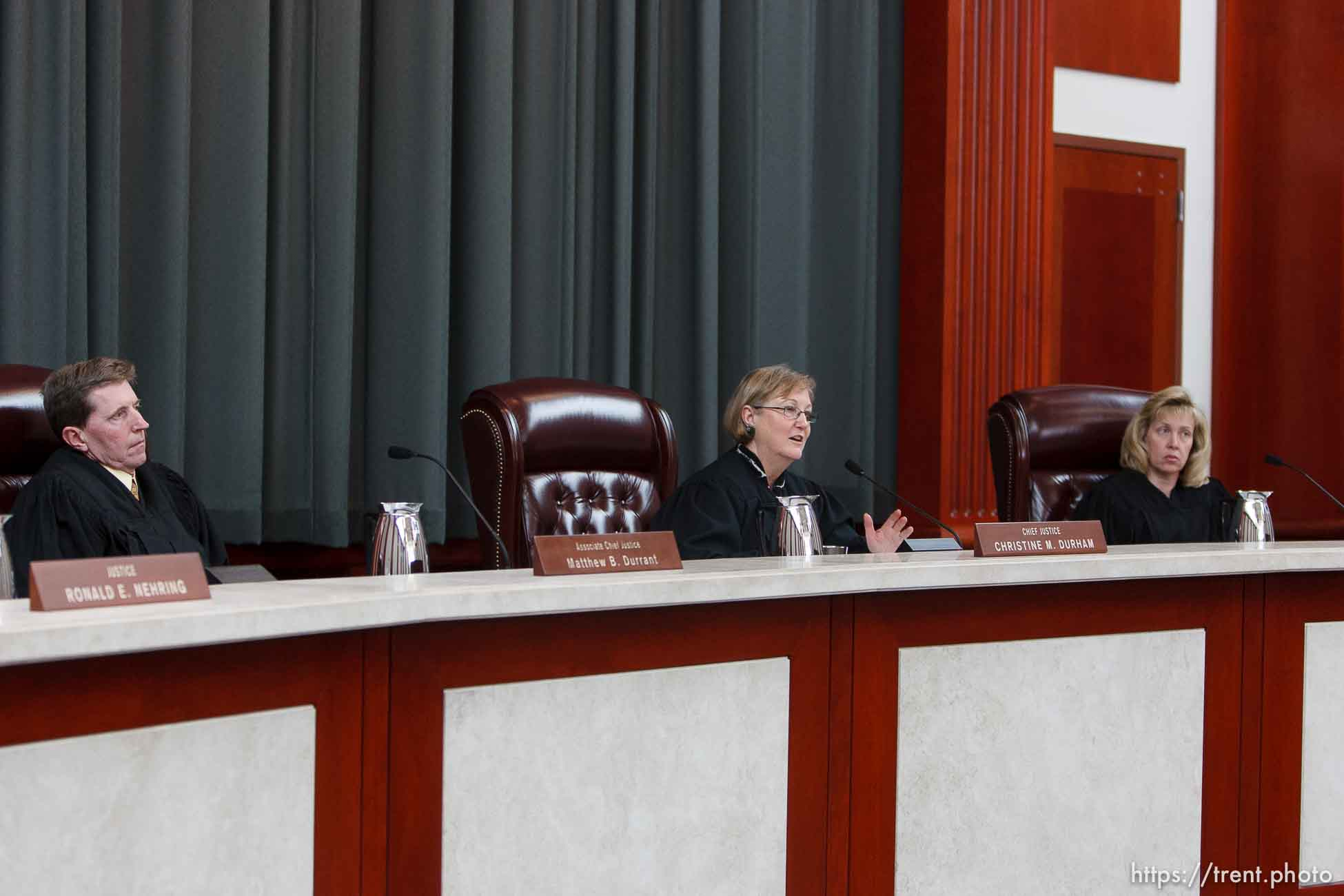 Trent Nelson | The Salt Lake Tribune Utah Supreme Court Justices Matthew Durrant, Chief Justice Christine Durham and Jill Parrish heard arguments in Salt Lake City, Utah, Tuesday, April 12, 2011, on cases involving the FLDS Church's United Effort Plan (UEP) land trust.
