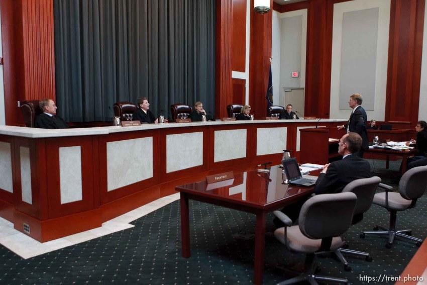 Trent Nelson | The Salt Lake Tribune Attorney Rod Parker addresses the Utah Supreme Court, who heard arguments in Salt Lake City, Utah, Tuesday, April 12, 2011, on cases involving the FLDS Church's United Effort Plan (UEP) land trust.