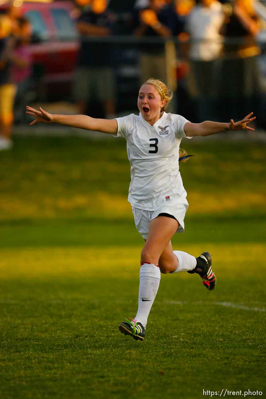 Trent Nelson | The Salt Lake Tribune Skyline's Kaitlin Parkin. Skyline defeats Bountiful in a shootout, high school soccer playoffs, in Herriman, Utah, Thursday, October 13, 2011.