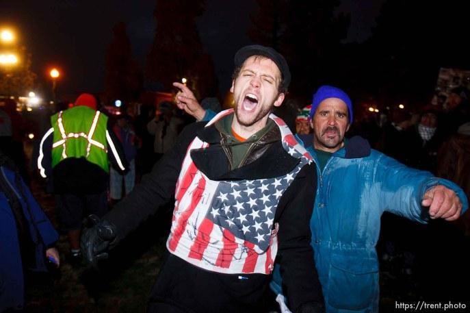 Trent Nelson | The Salt Lake Tribune Salt Lake City police cleared the Occupy Salt Lake tent city from Pioneer Park in Salt Lake City, Utah, Saturday, November 12, 2011. Drew Baker