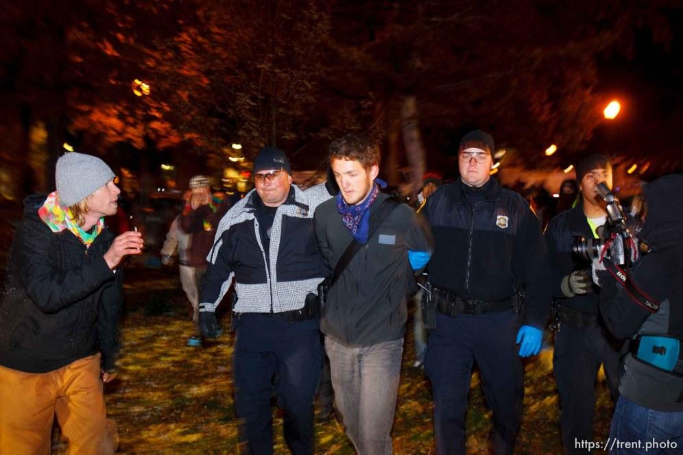 Trent Nelson | The Salt Lake Tribune Salt Lake City police cleared the Occupy Salt Lake tent city from Pioneer Park in Salt Lake City, Utah, Saturday, November 12, 2011. activist arrested