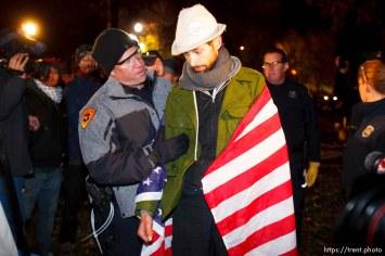 Trent Nelson | The Salt Lake Tribune Salt Lake City police cleared the Occupy Salt Lake tent city from Pioneer Park in Salt Lake City, Utah, Saturday, November 12, 2011. jesse fruhwirth arrested