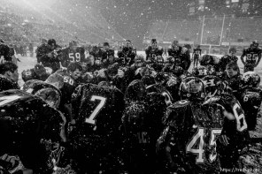 Trent Nelson | The Salt Lake Tribune Hurricane players pray after they defeated Desert Hills 21-0 in the 3A State Championship high school football game at Rice-Eccles Stadium in Salt Lake City, Utah, Friday, November 18, 2011.