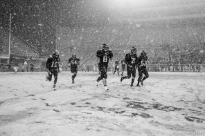 Trent Nelson | The Salt Lake Tribune Hurricane's Adam Thompson, Alex Sefita, Brian Scott, Bryan Lee, Thurman Joe. Hurricane defeated Desert Hills 21-0 in the 3A State Championship high school football game at Rice-Eccles Stadium in Salt Lake City, Utah, Friday, November 18, 2011.