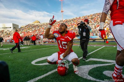 Trent Nelson | The Salt Lake Tribune Utah running back John White celebrates his game-winning touchdown as the University of Utah defeated Georgia Tech, college football at the Sun Bowl in El Paso, Texas, Saturday, December 31, 2011.
