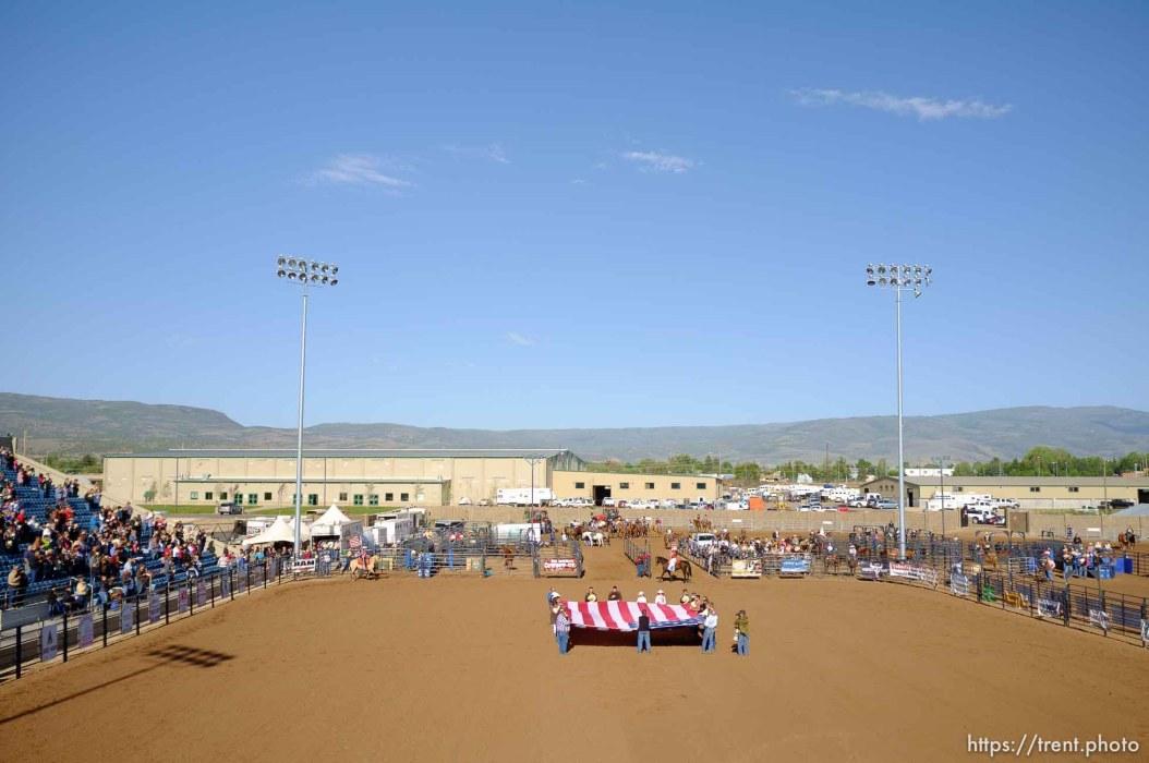 Trent Nelson | The Salt Lake Tribune national anthem at the Utah High School Rodeo Finals Saturday, June 9, 2012 in Heber City, Utah.