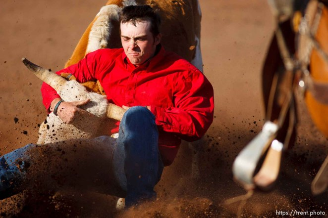 Trent Nelson | The Salt Lake Tribune Chad Watterson in the steer wrestling competition at the Utah High School Rodeo Finals Saturday, June 9, 2012 in Heber City, Utah.
