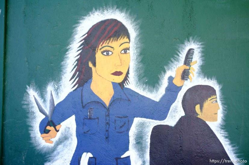 haircut salon painting. Thursday, June 14, 2012 in Midvale, Utah.
