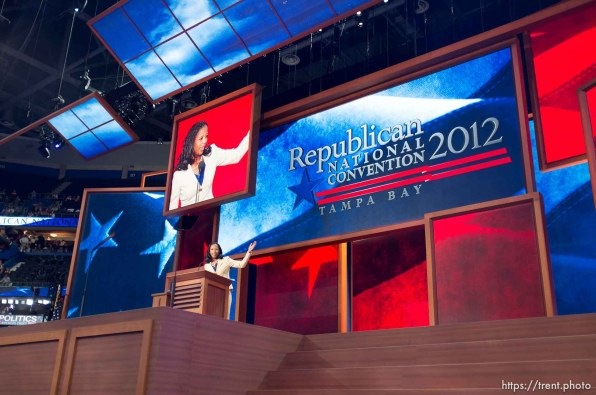 Trent Nelson | The Salt Lake Tribune Mia Love speaks on the first day of the Republican National Convention in Tampa, Florida, Tuesday, August 28, 2012.