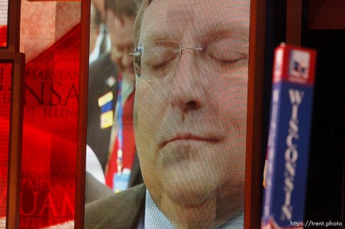 Trent Nelson | The Salt Lake Tribune A delegate appears on an LCD screen during the invocation on the first day of the Republican National Convention in Tampa, Florida, Tuesday, August 28, 2012.