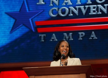 Trent Nelson | The Salt Lake Tribune Utah congressional candidate Mia Love speaks on the first day of the Republican National Convention in Tampa, Florida, Tuesday, August 28, 2012.