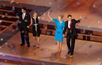 Trent Nelson | The Salt Lake Tribune Paul Ryan, Janna Ryan, Ann Romney and Mitt Romney wave at the close of the Republican National Convention in Tampa, Florida, Thursday, August 30, 2012.