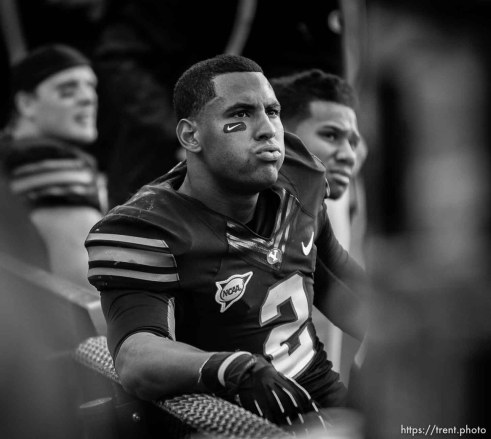 Trent Nelson | The Salt Lake Tribune BYU's Cody Hoffman on the bench in the final seconds of the loss as BYU hosts Oregon State college football Saturday October 13, 2012 in Provo, Utah.